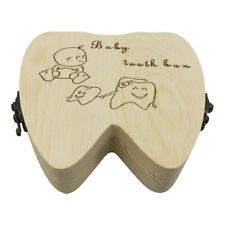 Baby Teeth Keepsake Box Tooth Fairy Holder Wooden First Lost Deciduous Tooth Box