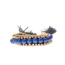 ETTIKA Braided Cuff Bracelet Beaded Chain & Rhinestone Trim Tassels