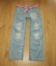 Blue Denim LEE COOPER Button Belt Distressed Faded Slouch Fit Jeans Yrs 13 L 28
