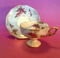Pedestal Blue Luster Tea Cup And Saucer - Purple Flowers - Sterling China Japan