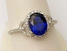 White Gold Oval Halo Vintage LabCreate Sapphire Diamonds Engagement Wedding Ring