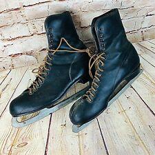 Vtg Ice Skates Christmas Decor Black leather Canada tempered & hardened Steel