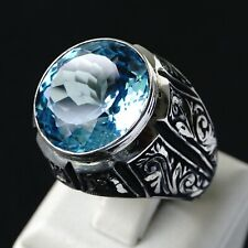Ring Blue Topaz Sterling Silver unique handcrafted mens jewelry size 10.5 US