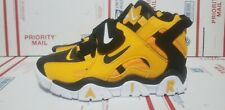Nike Air Barrage Mid Warriors Men Basketball Shoe yellow /black /white size 10