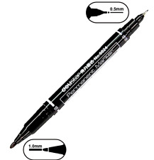 TWIN TIP PERMANENT MARKER 2 SIDED BLACK 0.5mm AND 1.0mm SHARP TIP