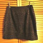 In Moda women's size 8 short skirt w 27 L 16 1/2 Brown/Black leopard print EUC