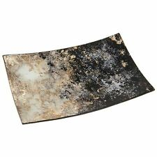 Moonrise Design Black & Pearlescent Gold Rectangle Small Plate