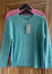 BRAND NEW EX B YOUNG Blue Pink Cable Ribbed Acrylic Jumper Top Size 6 - 16