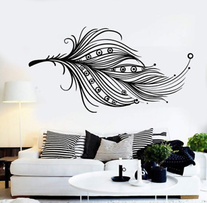 Beautiful Feather Wall Stickers Feather Wall Decals Kids Room Home Decor 80x42cm