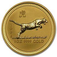 1998 AUSTRALIA 1 OZ GOLD LUNER TIGER IN ORIGINAL MINT CAPSULE GEM SUPER MS+++