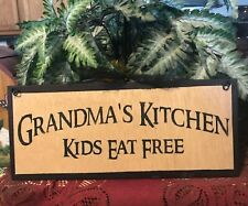 Grandma'S Kitchen Kids eat Free country grandmother gift grandma decor wall sign