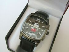 """DISNEY MICKEY MOUSE MEN""""S WATCH BLACK GENUINE LEATHER BAND MK5188"""