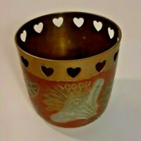 brass candle holder made in India vintage hand painted floral design 2 1/2in xx