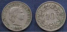 MONETA COIN MONNAIE HELVETIA SUISSE SWITZERLAND SVIZZERA - 10 RAPPEN 1911 -