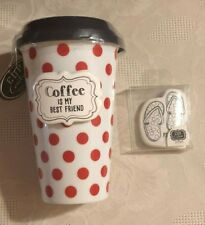 CR Gibson Coffee Tea Cup Travel Mug 2 CHARMS Rubber Lid Spill Proof Portable