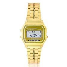 Reloj Dorado Retro vintage digital Vintage con luz Alarma cronometro - calidad