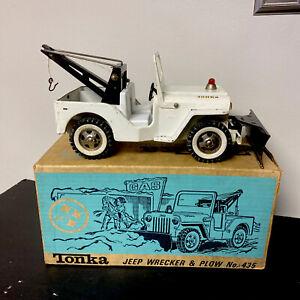Vtg 1960s Pressed Steel Tonka # 435 AA Jeep Willy's Wrecker Truck w Plow Box🔥🔥
