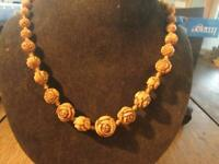 LovelyArt Deco Czech Neiger Rose Bead Necklace