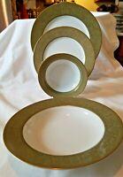 4 PIECE PLACE SETTING SANGO VERSAILLES GREEN & GOLD DINNER + BREAD PLATES +BOWLS