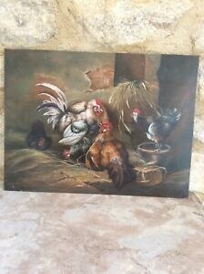 ORIGINAL OIL PAINTING OF COCKERELS CHICKENS ON WOOD