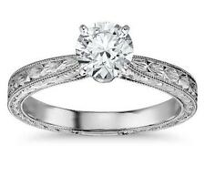 2.0 CT SOLITAIRE DIAMOND ENGRAVING ENGAGEMENT RING IN SOLID 14KT WHITE GOLD