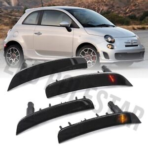 Euro Smoke Lens Front&Rear Bumper Side Marker Lamp w/Bulbs for 12-19 Fiat 500 4X
