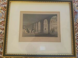 Antique engraved coloured print of Trinity College Cambridge Cloisters 1832
