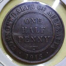 1915H 'H' uSCROLL AUSTRALIAN HALF PENNY -1900s, Bronze (JUL20-2)