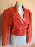 Vintage 70s 80s soft suede leather collar hippie boho festival crop jacket 10-12