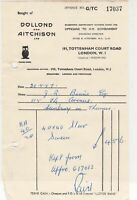 Dollond and Aitchison London W1 1957 Owl Illustration Optical Receipt Ref 38959
