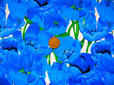 LARGE BLUE POPPIES ON WHITE BACKGROUND - 100% COTTON FABRIC FQ'S