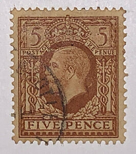 Travelstamps: Great Britain Stamps Scott #217 King George V 5P Used NG