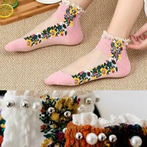 Womens cotton ankle boot socks with wide ruffled frilly vintage  lace