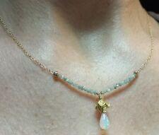 1ct gray Diamond 1ct Ethiopian fire Opal pear 14k gold flower pendant necklace
