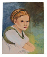 Vintage Acrylic Painting on Canvas Young's Girl Portrait Deep Brown Eyes
