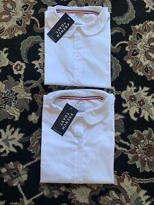 Lot Of 2 French Toast Girls 14 Short Sleeve Peter Pan Blouse White Uniform Shirt