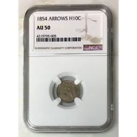 1854 Seated Liberty Half Dime Arrows NGC AU50 ***Rev Tye's*** #5005119