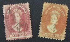 nystamps British Australian States Tasmania Stamp # 29.29a Used $65  O22x1824