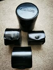 """CANON  LEATHER LENS HARD CASE  (""""C"""") +3 free small cases +popper lids (all VGC)"""
