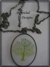 Green Tree of Life Oval Pendant Necklace