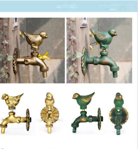 Outdoor Animal Vintage Style Garden Wall Mounted Water Tap Brass Faucet Pigeon