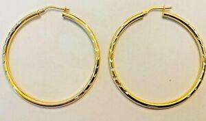 925 Gold On Silver Medium Hoop Earrings - Fully Hallmarked & FREE P&P