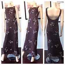 Vintage Retro 90s  Steinway brown silk beaded sequin evening gown maxi dress
