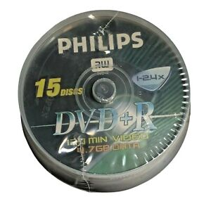 Philips DVDR1S04/711 4.7GB 120-Minute 2.4x DVD+Rs 15 ct., Cake Box Spindle NEW