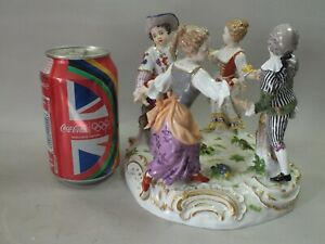 A FINE MEISSEN GERMAN PORCELAIN FIGURE-GROUP OF DANCERS  19TH CENTURY MARKED