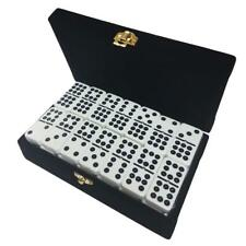 Domino Double Nine 9 White Jumbo Tournament Pro Size Black Velvet Box Spinners