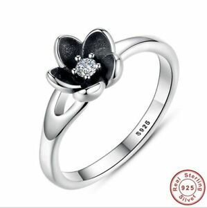 925 Sterling Silver Authentic Mystic Floral Stackable Ring CZ & Black Enamel ...