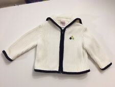 GYMBOREE Girls Size 12-18 Mos White Ribbed Zippered Sweater Black & Floral Trim