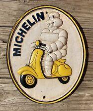 MICHELIN Bibendum on Scooter London 1952 Vintage Cast Iron Plaque Sign