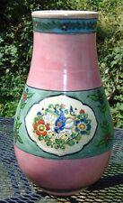 ANTIQUE JAPANESE Vase WINGED HORSE Enameled PINK
